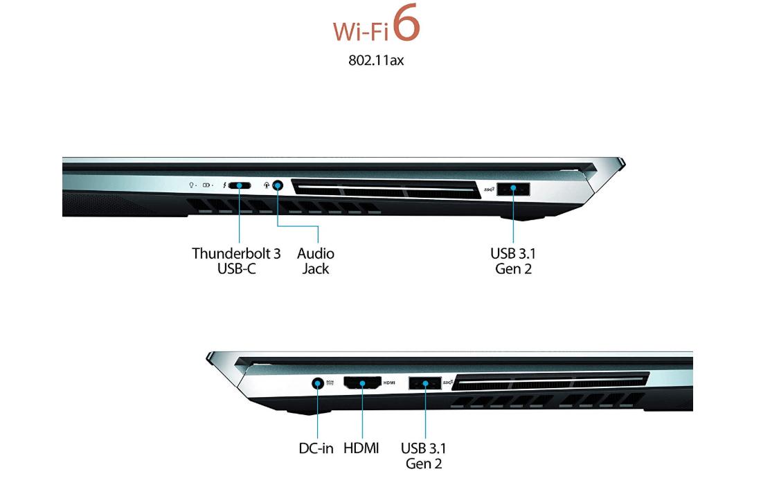 Asus ZenBook Pro Duo dual-screen Laptop ports