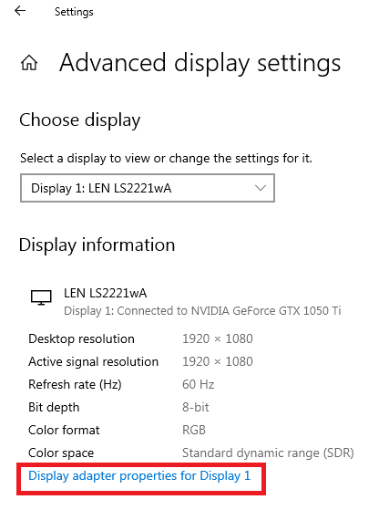Click on Display adapter properties for Display 1