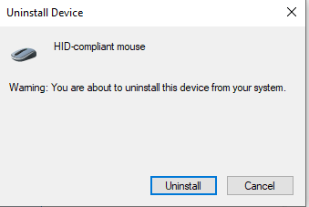 Uninstall Device tab,
