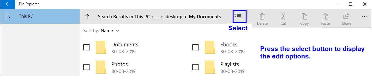 New File Explorer edit options