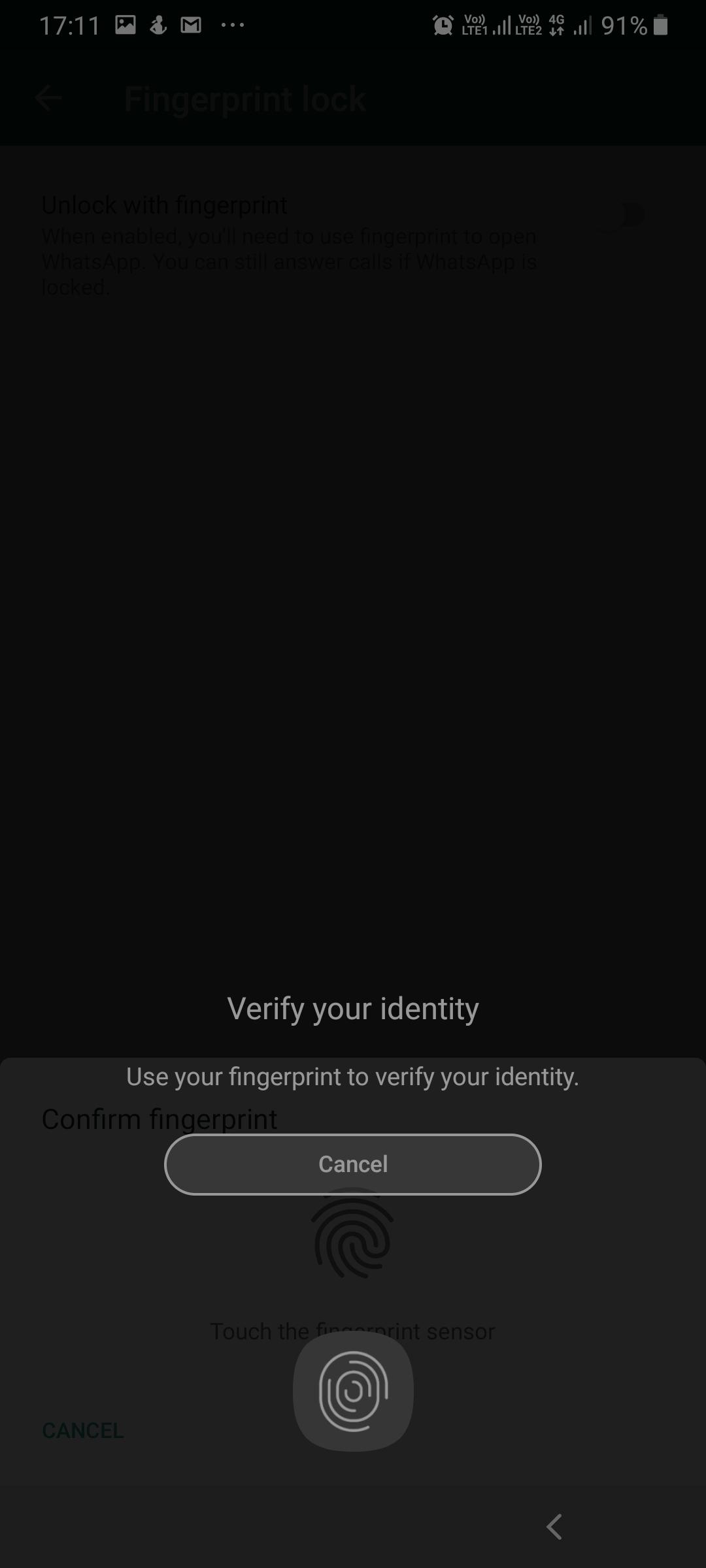 WhatsApp Fingerprint