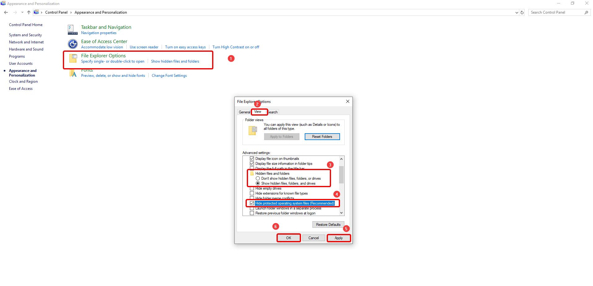 Show Hide folder options_Control Panel_Windows_10