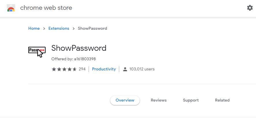 Show Passwords Extension