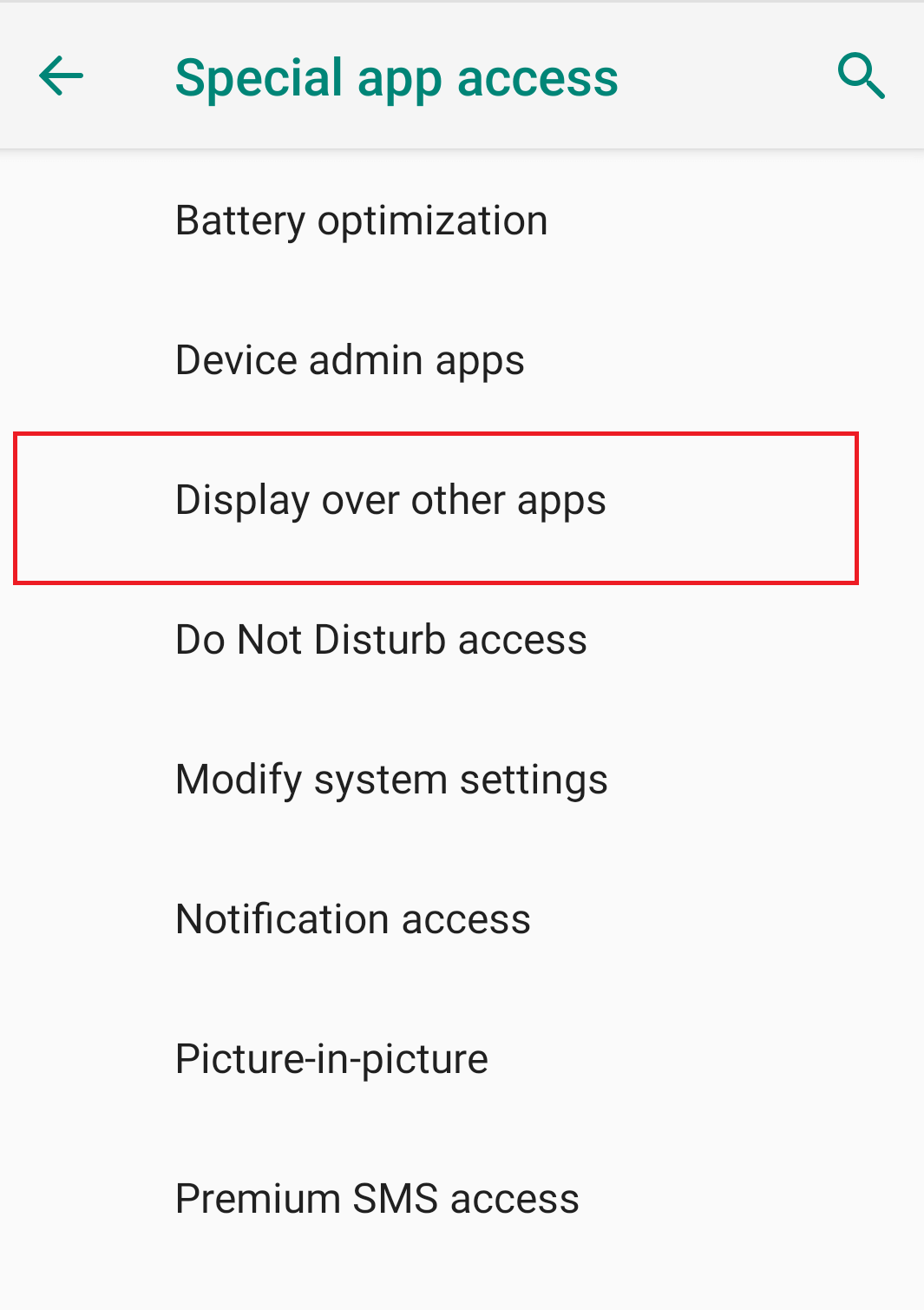 Tap on Display over other apps