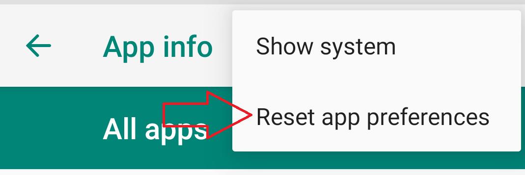 Tap on Reset app preferences