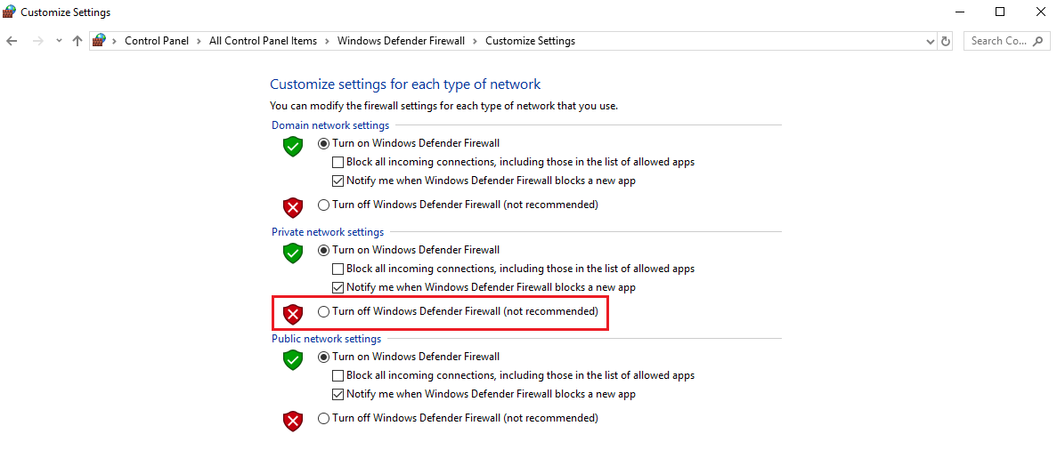 Temporarily Disable Firewall - windows hotspot