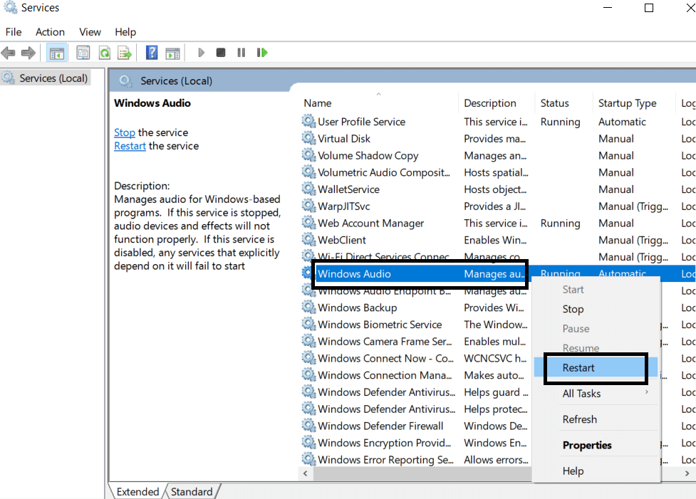 Windows Audio setting