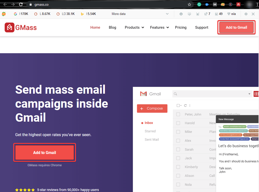 add gmass extension to gmail