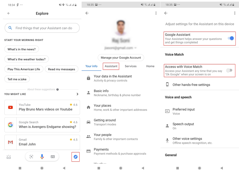 google assistant settings window