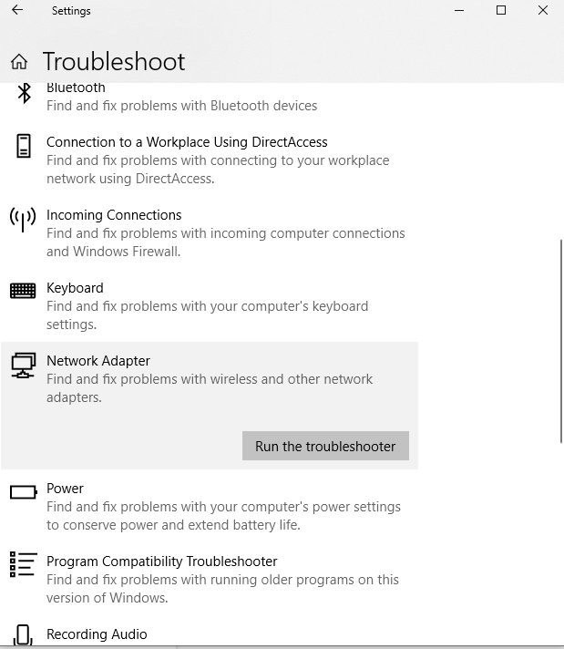 troubleshoot - windows 10 hotspot