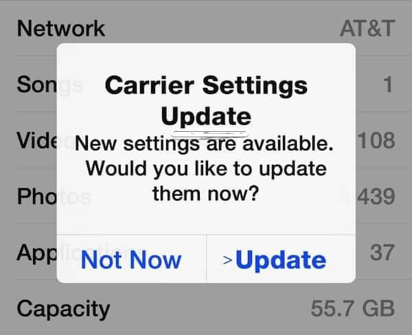 3.Update the iPhone carrier network
