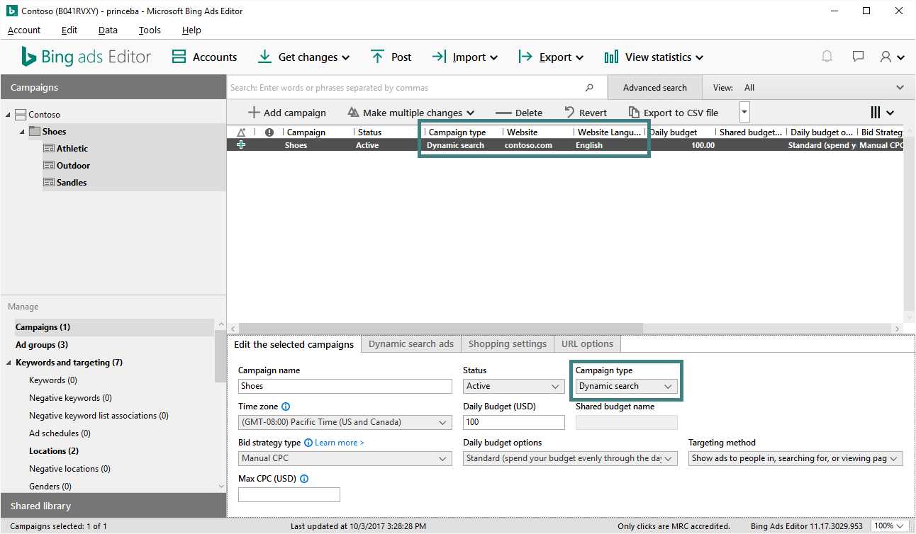 Bing Campaign Management Tool