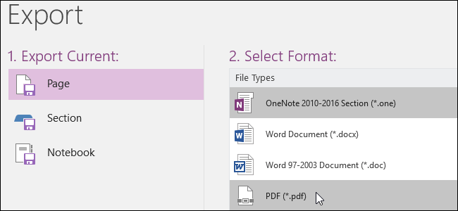 Microsoft OneNote Export page