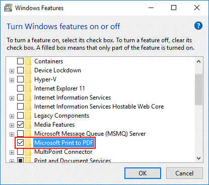 Microsoft Print to PDF_Windows Features