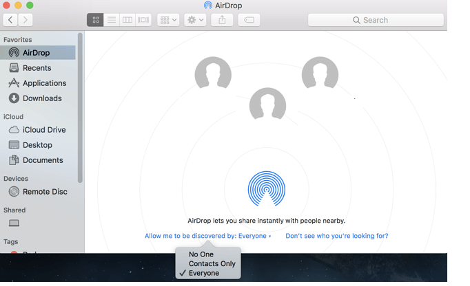 Set Visibility of AirDrop to Everyone