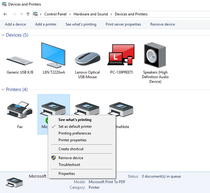 Set as default printer