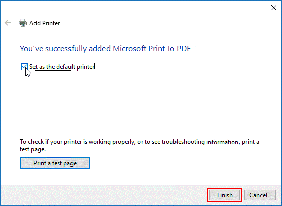 Set as the default printer