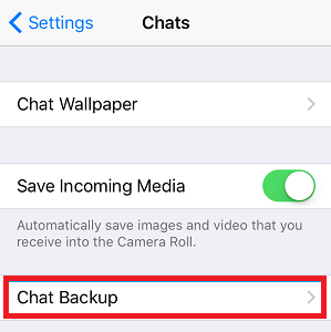 Tap on Chat Backup