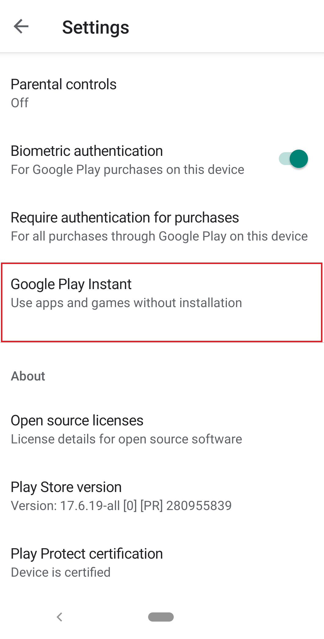 Tap on Google Play Instant