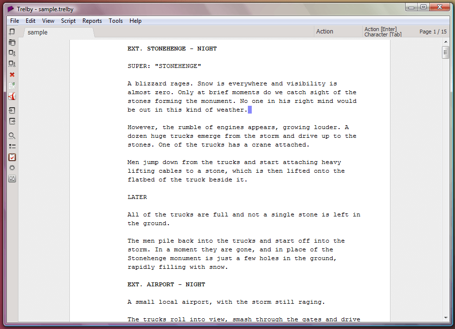 Trelby - free screenwriting software