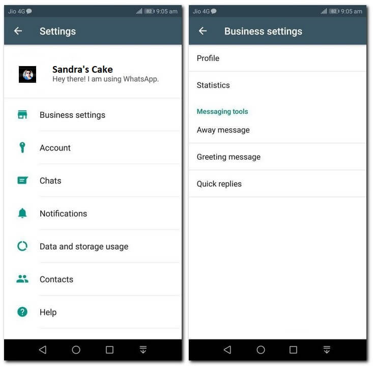 WhatsApp Business Settings Menu