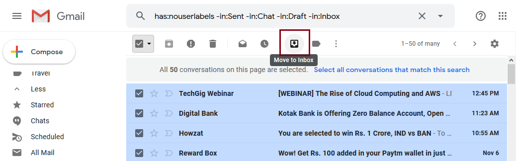 archived Gmail emails