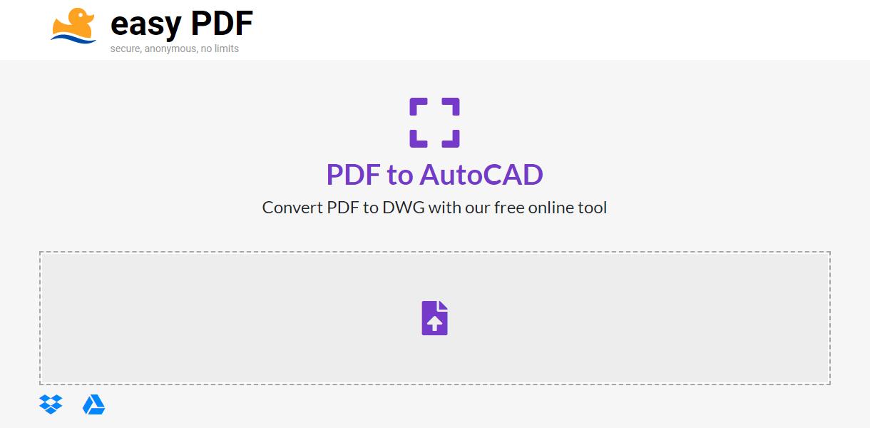 easyPDF PDF to DWG converter online