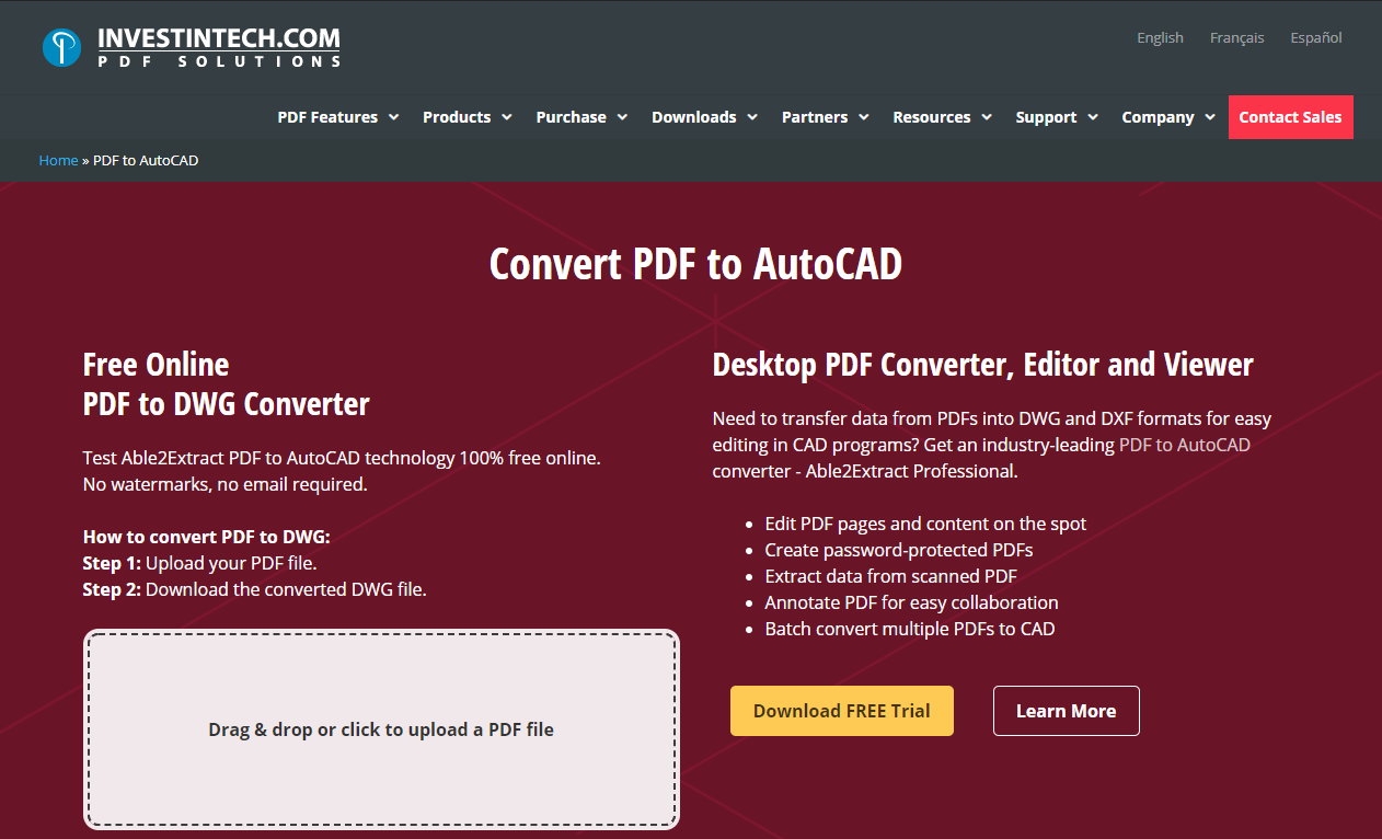 investintech PDF to DWG converter online