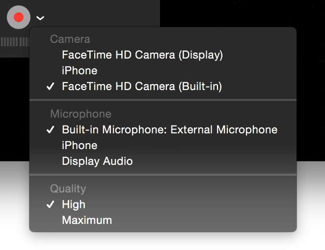 quicktime screen record with audio
