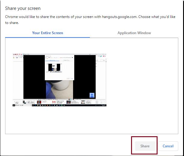 share screen on Google hangouts