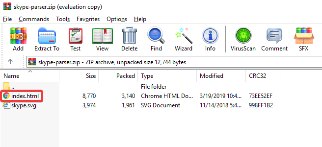skype parser zip file