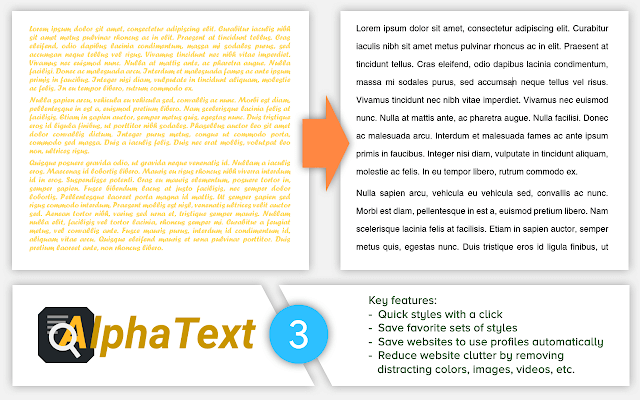 Alpha Text Google Chrome Extension