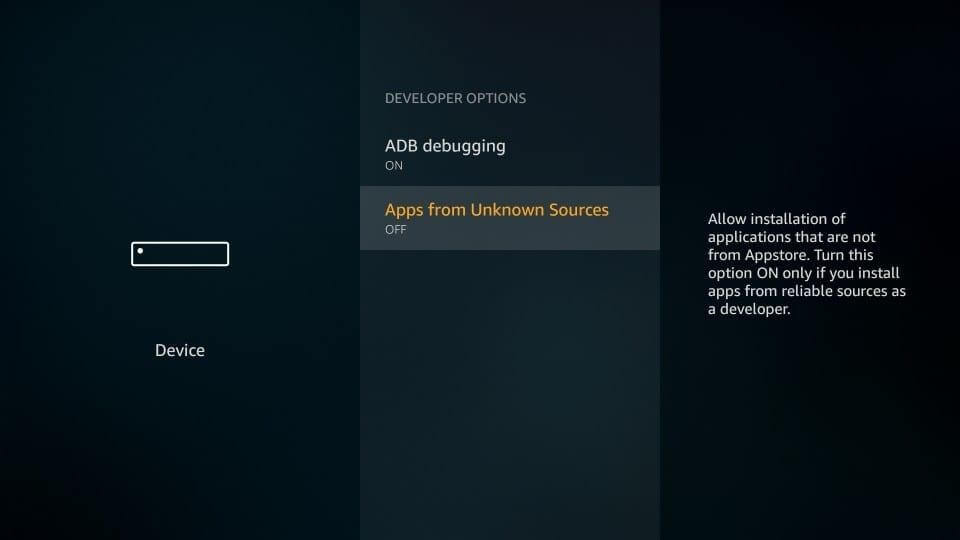 Apps from Unknown Source_Allow to Jailbreak Fire Stick