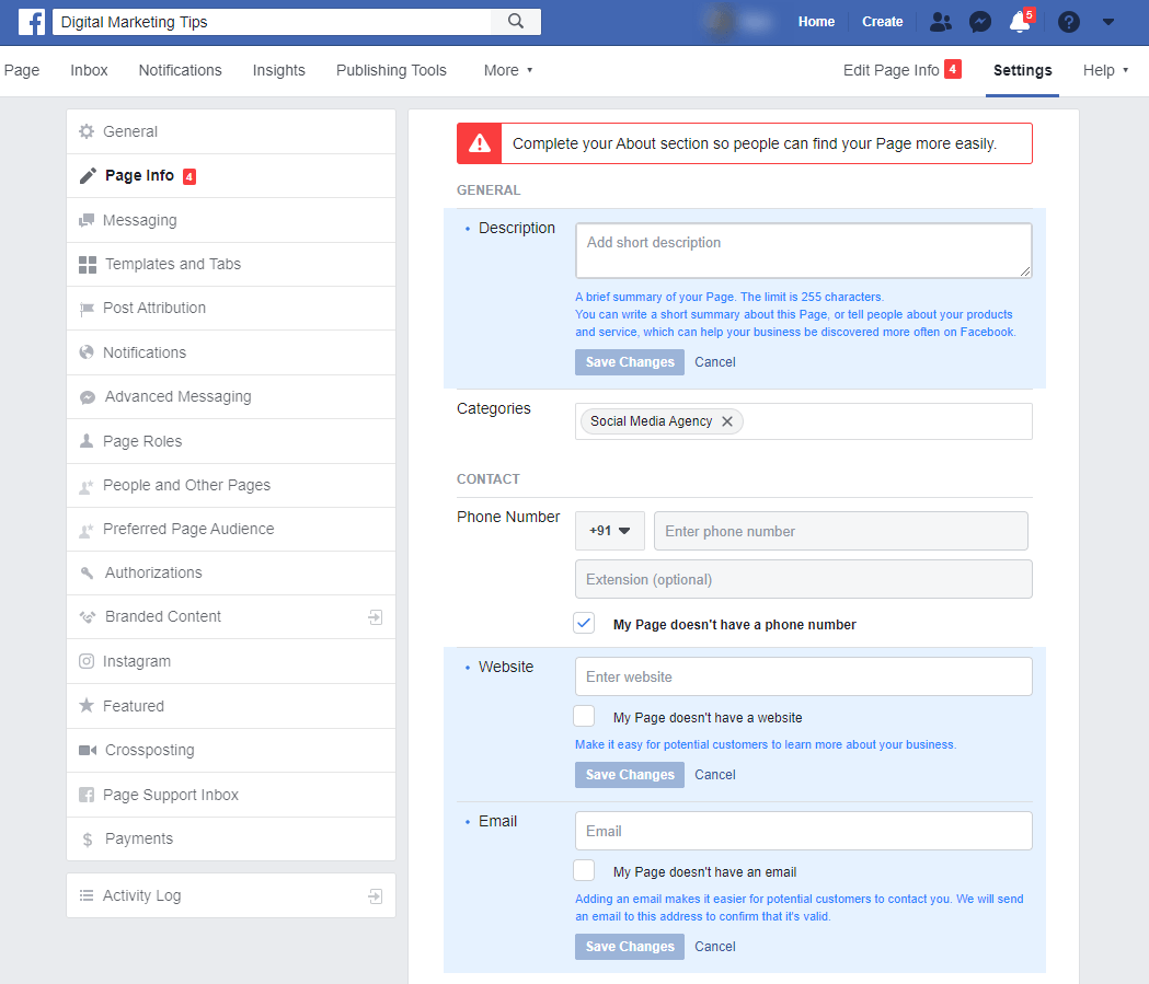 Customize facebook business page settings