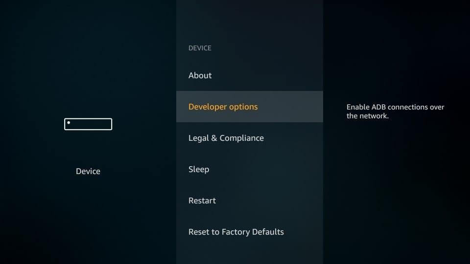Developer option Fire Stikc_Jailbreak Amazon Fire Stick