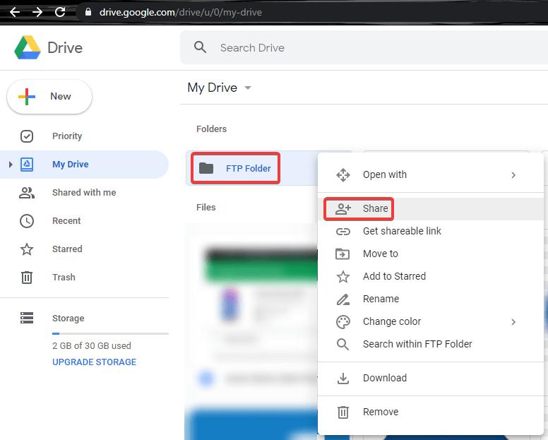 File Sharing using Google Drive Shared Folder