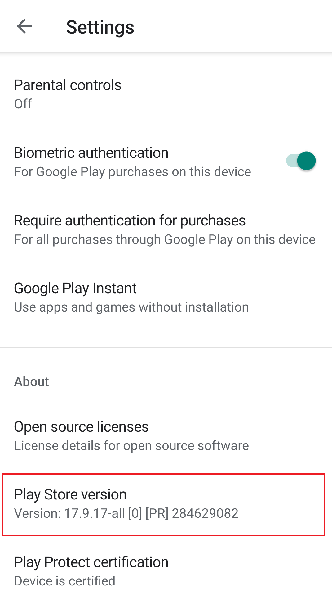 Tap on Play Store version