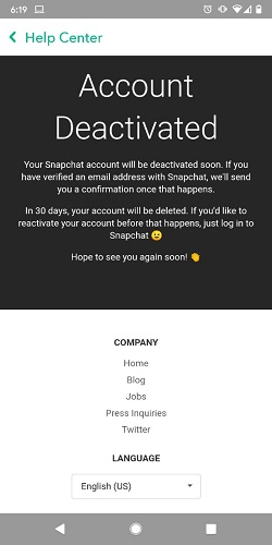 ddeactivate snapchat account