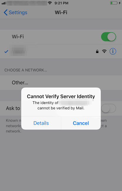Cannot verify server identity Issue