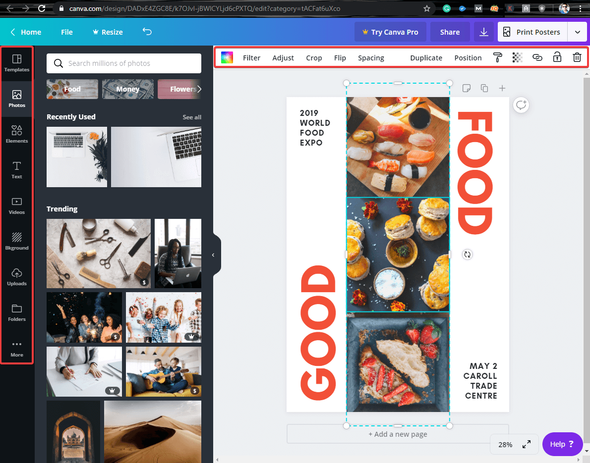 Canva online photo editor - online editing options