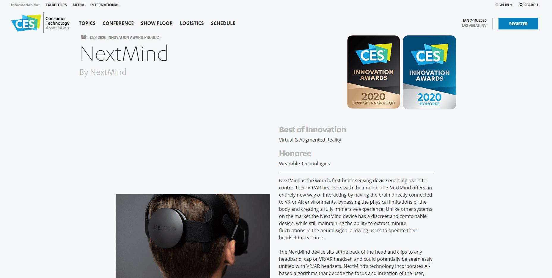 Dev Kit product by the NextMind - CES 2020
