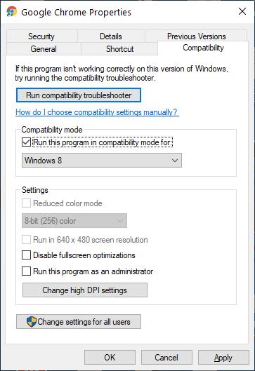 Run Google Chrome in Compatibility Mode.
