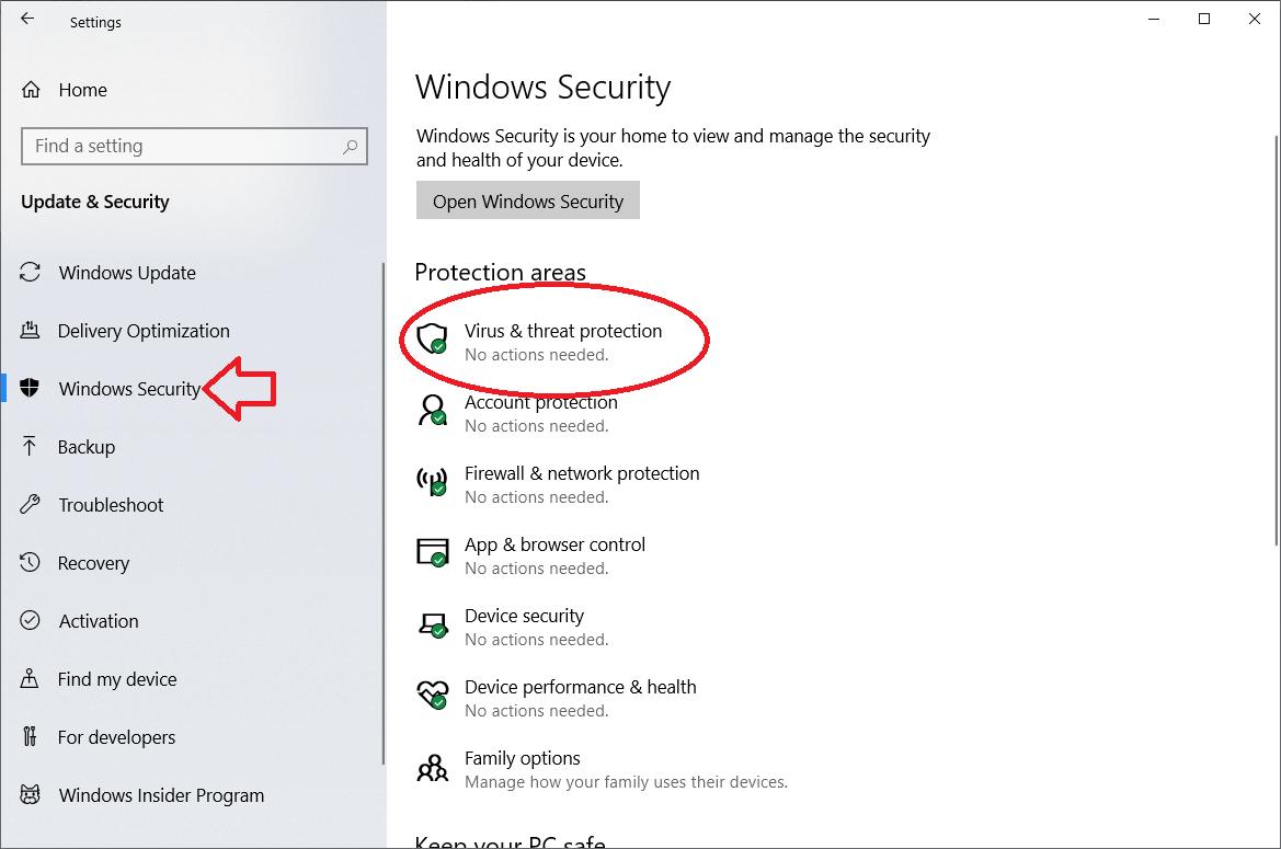 Run Scan of Windows Defender