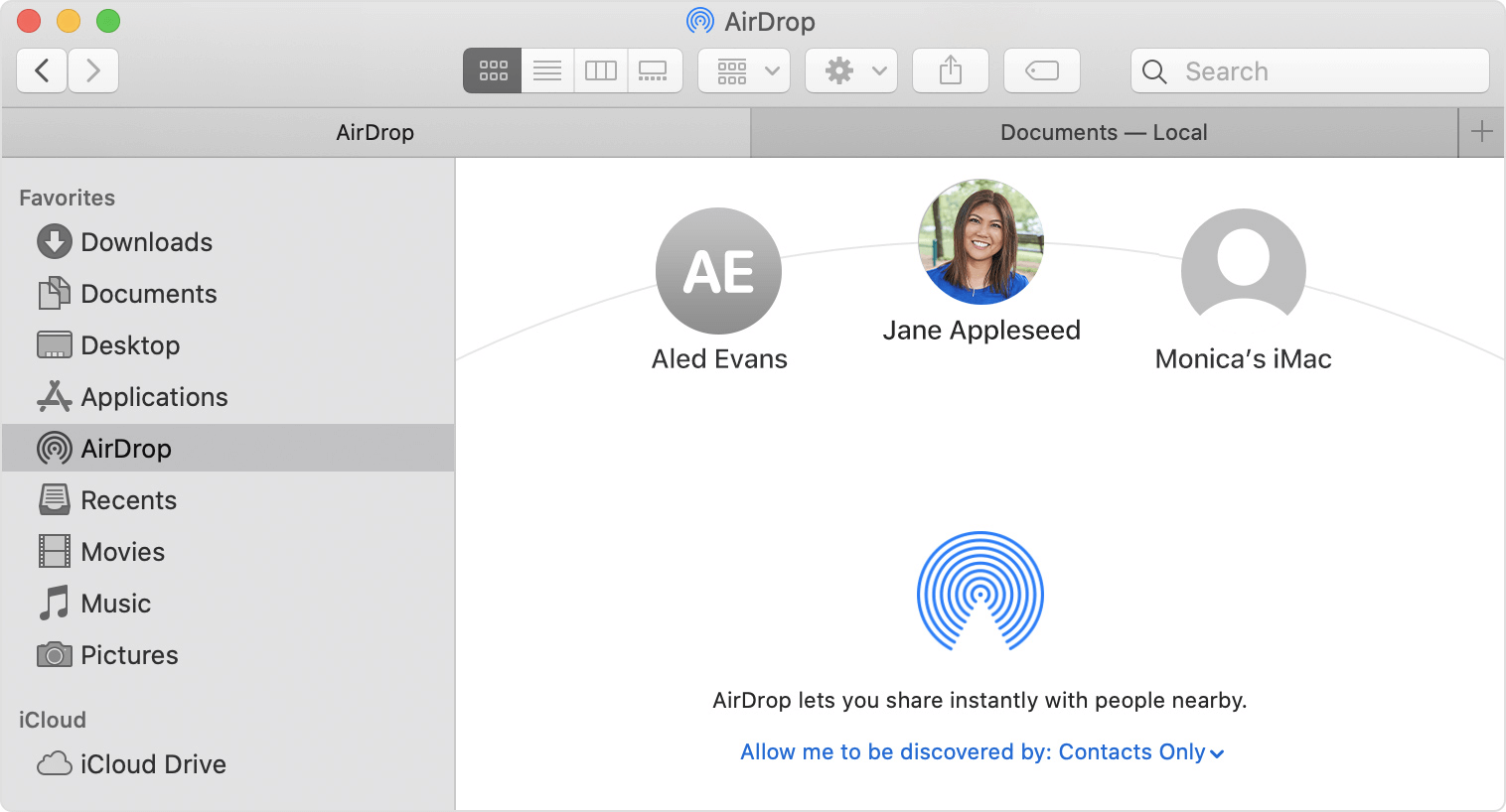 Select nearby devices on your Mac with AirDrop