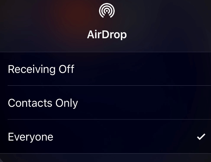 Tap on AirDrop setting