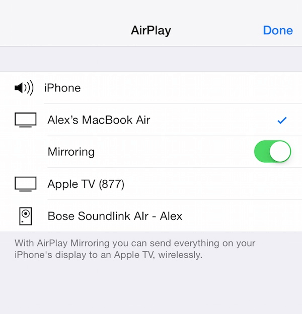 airplay on iphone