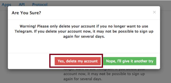 deactivate Telegram account permanently