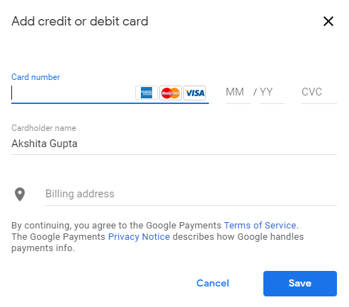 Add a payment method.