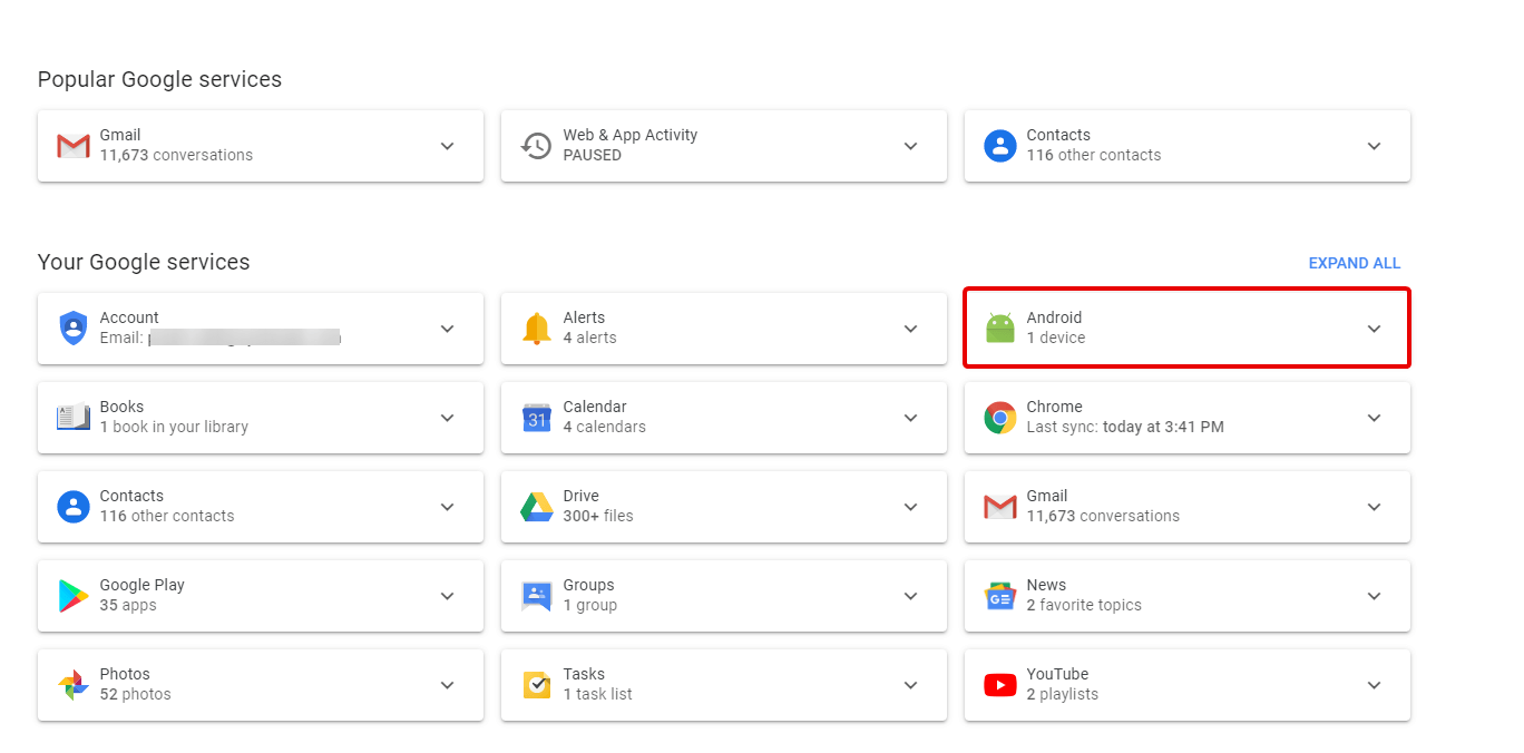 Check your IMEI number on Google dashboard