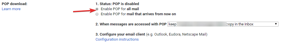 Configure Pop Access To Old Account